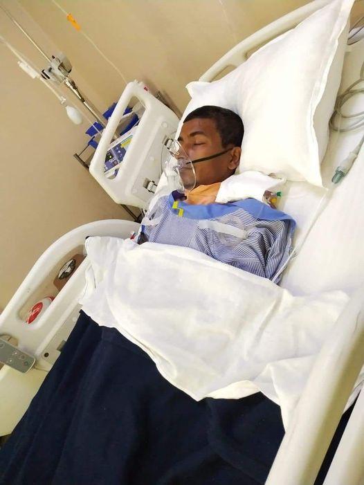 मृगौला प्रत्यारोपण गरे पछि दिल्लीस्थीत अस्पतालको बेडमा दाहाल । फोटो : भुपेन्द्र दाहालको फेसबुकबाट ।